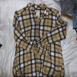 AE yellow button down flannel